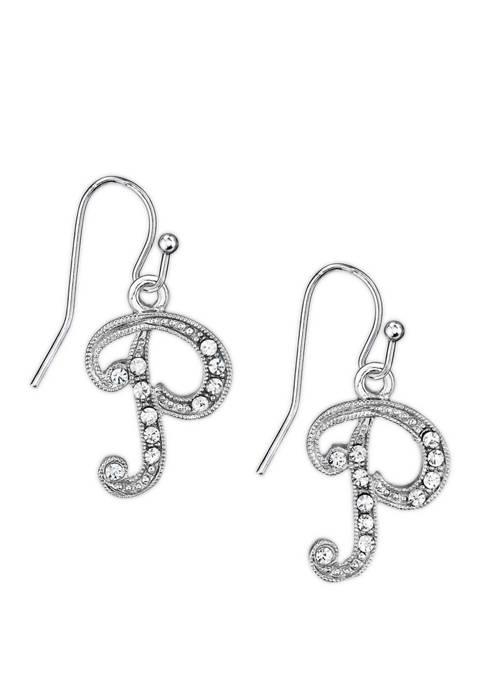1928 Jewelry Silver Tone Crystal P Earrings