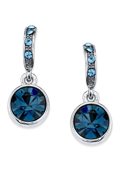1928 Jewelry Hematite Tone Blue Drop Earrings