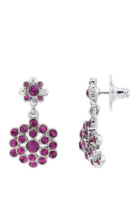 1928 Jewelry Silver Tone Amethyst Drop Earrings