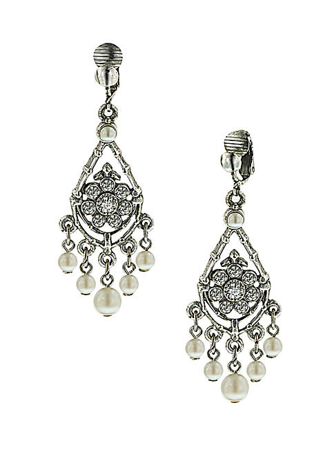 1928 Jewelry Silver Tone Crystal and Pearl Chandelier