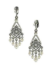 1928 Jewelry Silver Tone Crystal and Pearl Chandelier Drop Clip Earrings