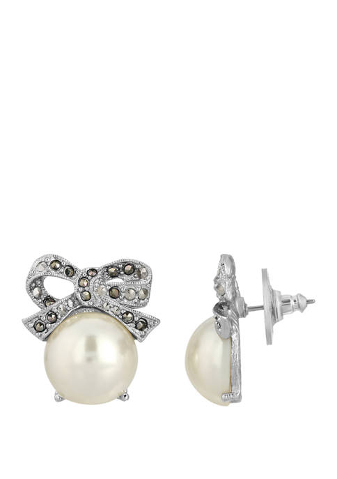 1928 Jewelry Silver Tone Faux Pearl and Marcasite