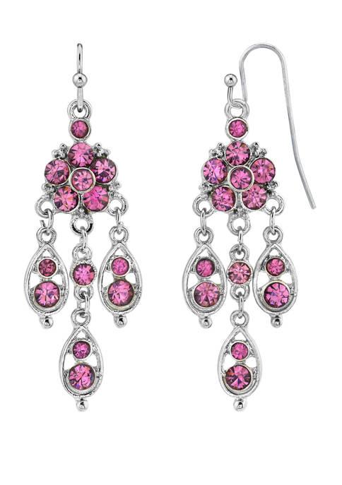 1928 Jewelry Silver Tone Amethyst Chandelier Drop Earrings