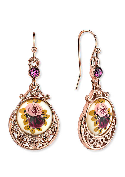 1928 Jewelry Rose Gold-Tone Purple Crystal Flower Drop