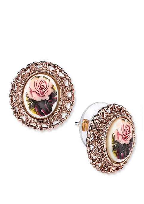1928 Jewelry Rose Gold-Tone Purple Flower Button Earrings
