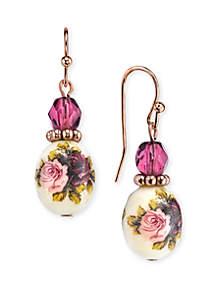 Rose Gold-Tone Purple Crystal Bead Flower Drop Earrings