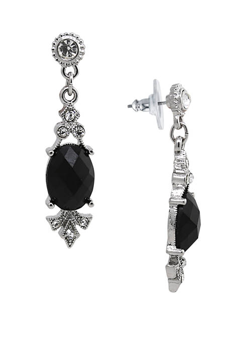 Silver Tone Black Stone and Crystal Drop Earrings