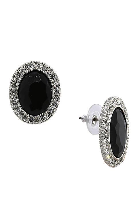 1928 Jewelry Silver Tone Oval Button Earrings
