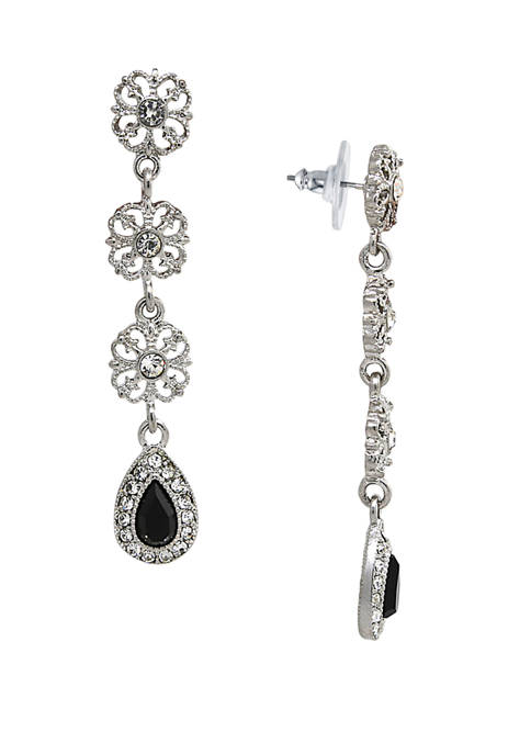 Silver Tone Black and Crystal Linear Earrings
