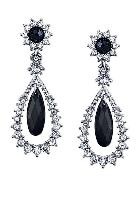 1928 Jewelry Silver Tone Black and Crystal Caged