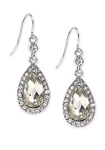 Silver Tone Crystal Faceted Pearshape Drop Earrings