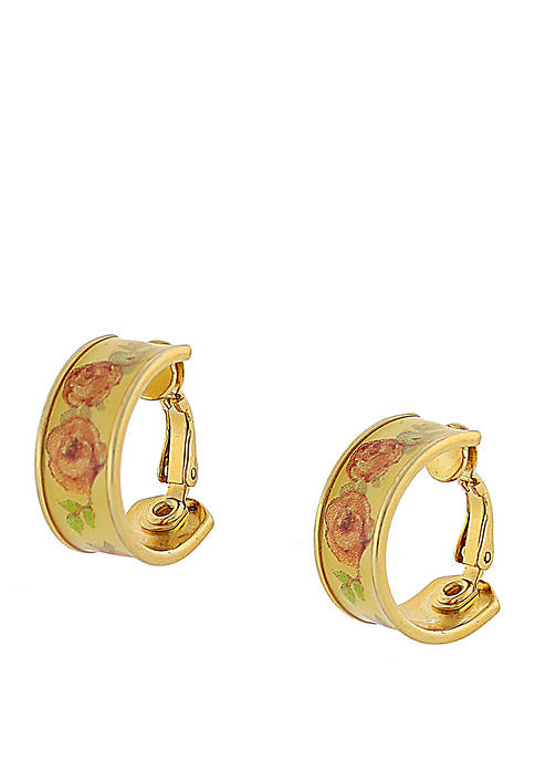 1928 Jewelry Gold Tone Yellow Floral Clip Hoop