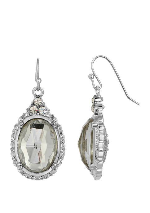 1928 Jewelry Silver Tone Crystal Oval Drop Earrings