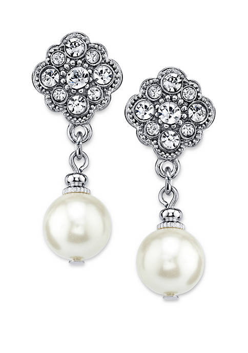 1928 Jewelry Silver-Tone Crystal and Simulated Pearl Drop