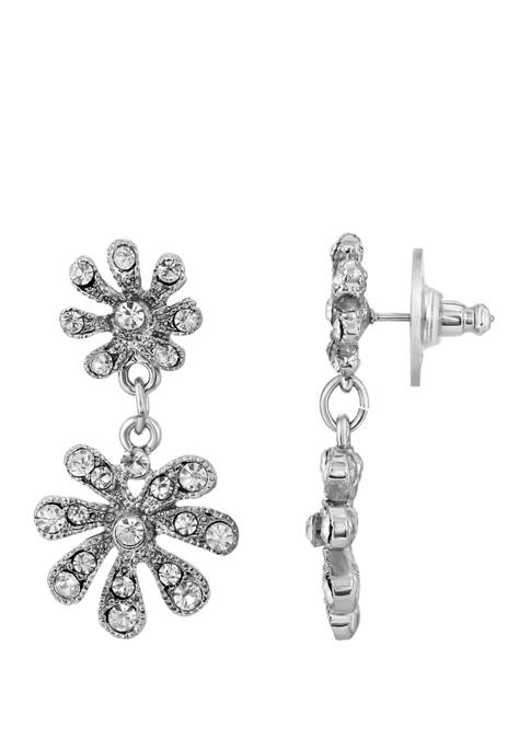 1928 Jewelry Silver Tone Crystal Flower Drop Earrings