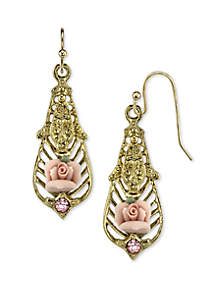 Gold-Tone Purple Crystal Bead Flower Drop Earrings
