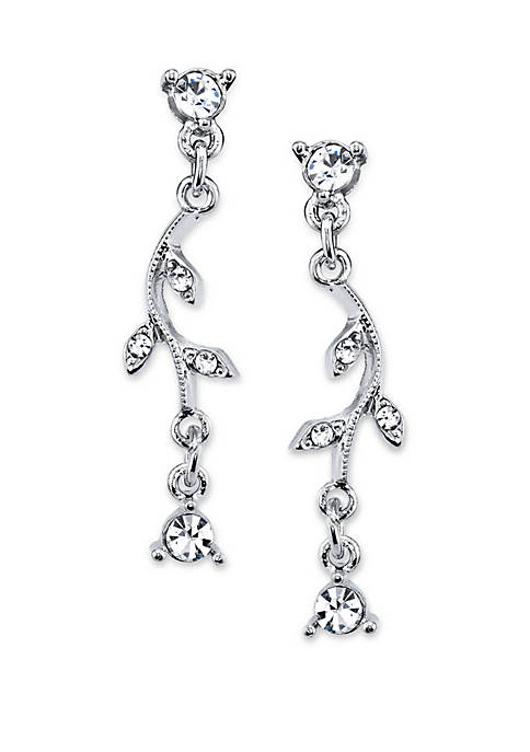 1928 Jewelry Silver Tone Crystal Vine Drop Earrings