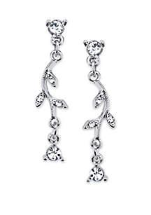 Silver Tone Crystal Vine Drop Earrings