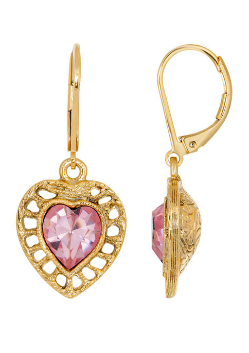 1928 Jewelry 14K Gold Dippef Pink Genuine Swarovski®