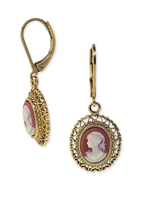 1928 Jewelry Gold-Tone Simulated Dark Carnelian Cameo Oval