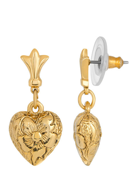 1928 Jewelry 14K Gold Dipped Textured Heart Drop
