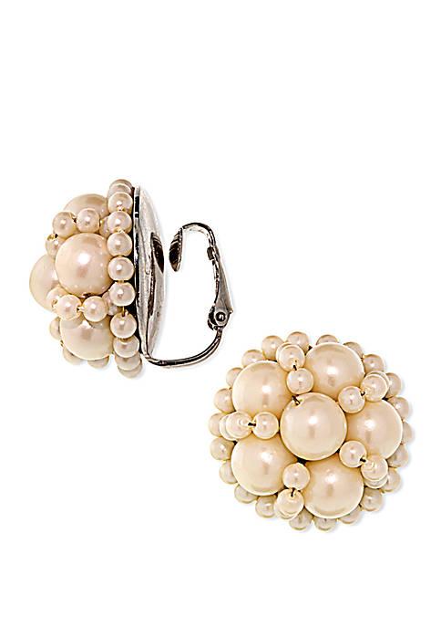 1928 Jewelry Silver Tone Large Round Multi Pearl