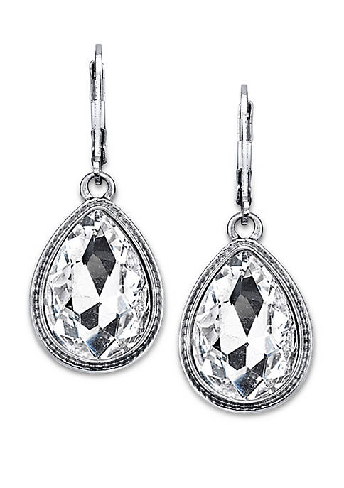 1928 Jewelry Silver Tone Crystal Faceted Teardrop Earrings