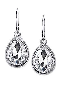 Silver Tone Crystal Faceted Teardrop Earrings