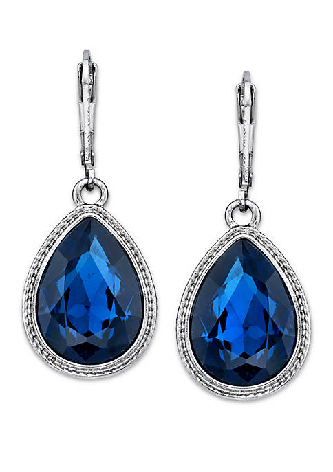 1928 Jewelry Silver Tone Blue Faceted Pearshape Drop
