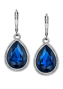 Silver Tone Blue Faceted Pearshape Drop Earrings