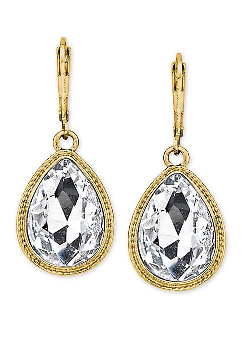 1928 Jewelry Gold Tone Crystal Faceted Teardrop Earrings
