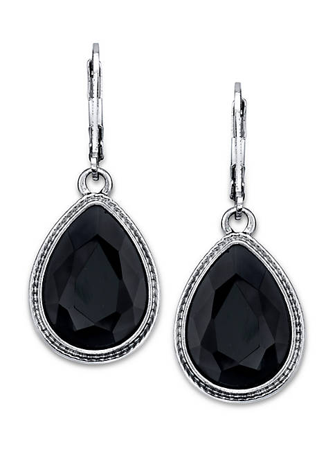 Silver Tone Black Faceted Pearshape Drop Earrings