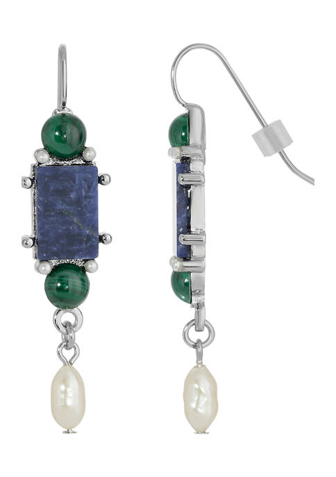 1928 Jewelry Silver-Tone Lapis Blue Rectangle Pearl Drop