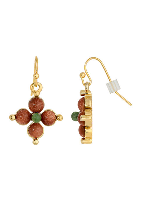 1928 Jewelry Gold Tone Gold Stone and Green