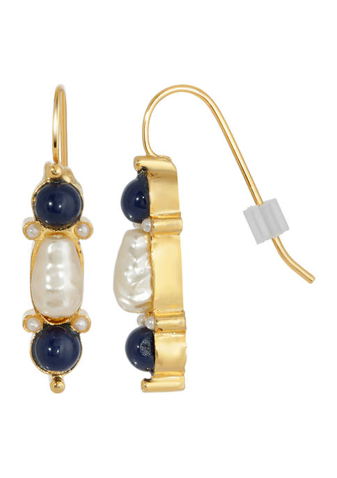 1928 Jewelry Gold Tone Faux Pearl and Blue