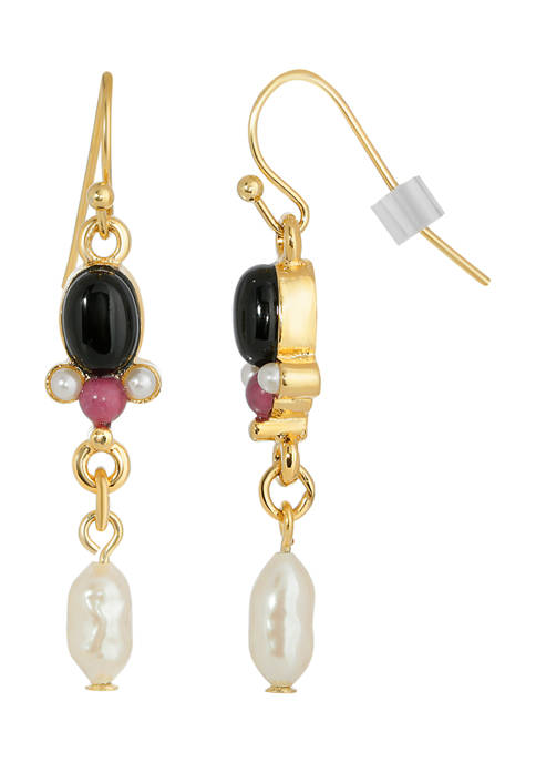 1928 Jewelry Gold-Tone Black Onyx and Faux Pearl