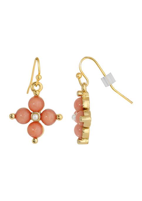1928 Jewelry Gold Tone Carnelian Drop Earrings