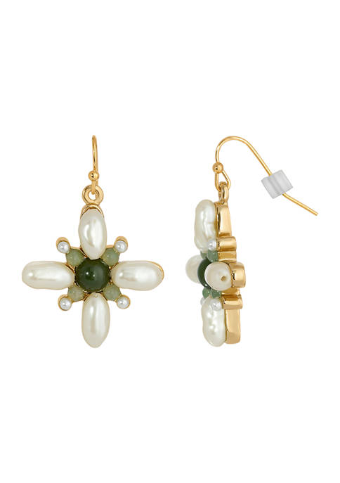 1928 Jewelry Gold Tone Faux Pearl and Aventurine