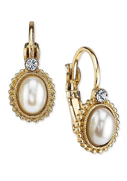 1928 Jewelry Gold-Tone Simulated Pearl and Crystal Accent