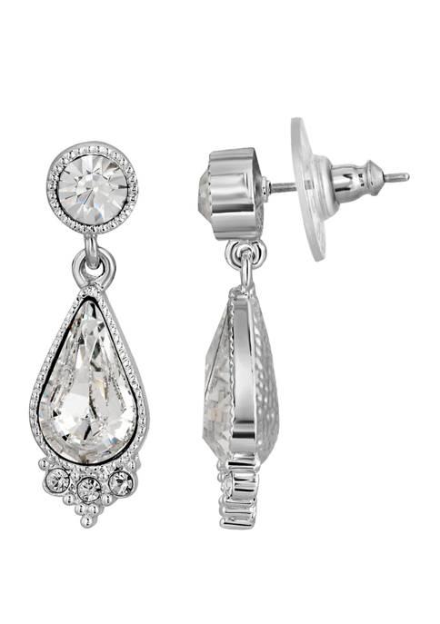 1928 Jewelry Silver Tone Teardrop Earrings Made with