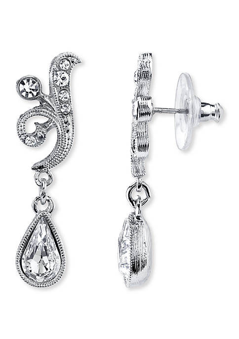 1928 Jewelry Silver-Tone Crystal Teardrop Earrings