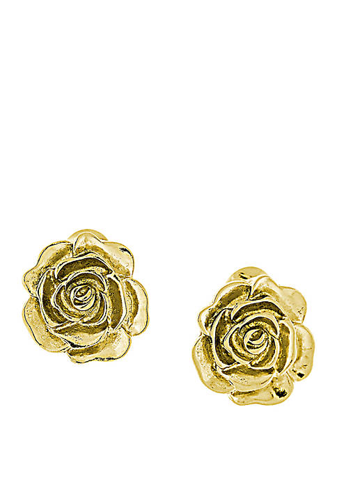 1928 Jewelry 14k Gold Dipped Flower Button Clip