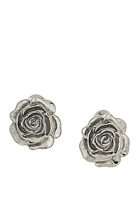 1928 Jewelry Silver Tone Flower Button Clip Earrings