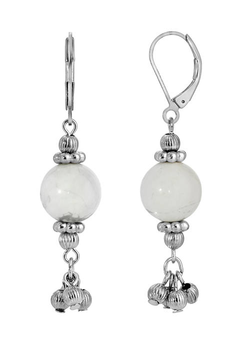 1928 Jewelry Silver Tone Genuine Stone White Howlite