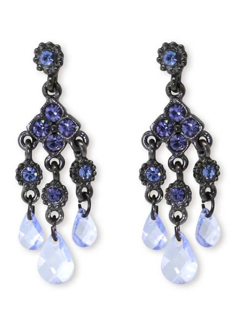 1928 Jewelry Black Tone Blue Chandelier Earrings