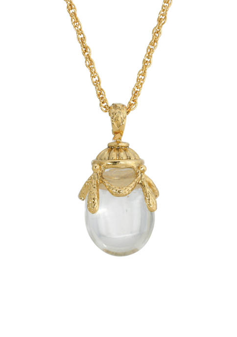 1928 Jewelry Gold-Tone Clear Glass Egg Pendant Necklace