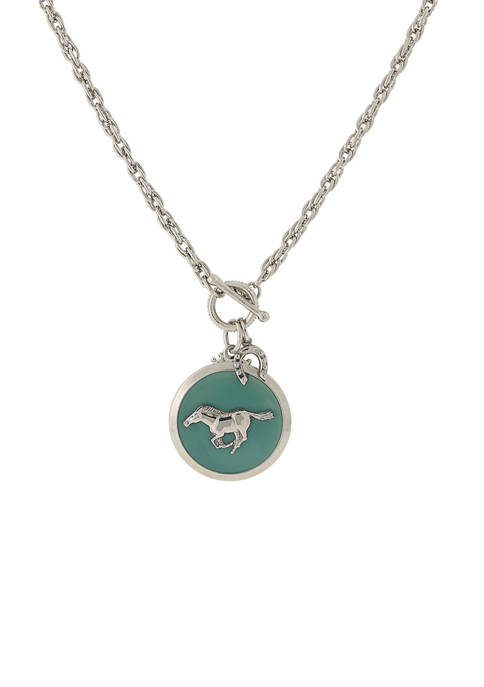 1928 Jewelry Silver Tone Turquoise Color Enamel Horse