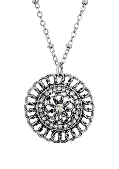 1928 Jewelry Silver Tone Crystal Pendant Necklace