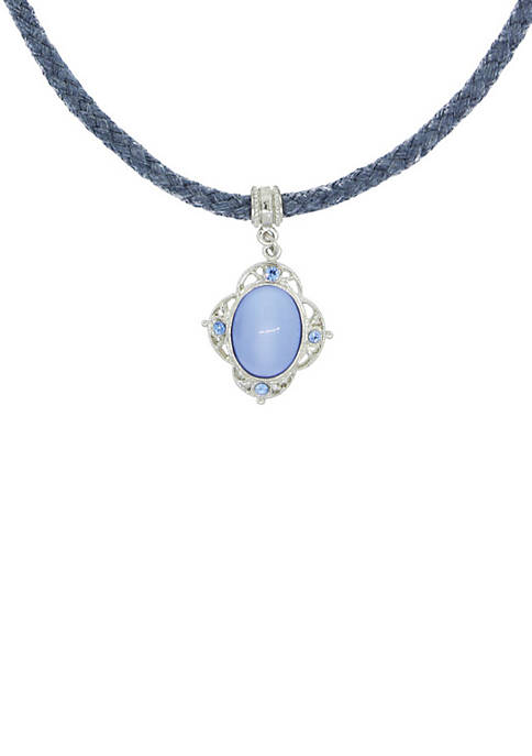 1928 Jewelry Blue Choker Necklace with Blue Moonstone