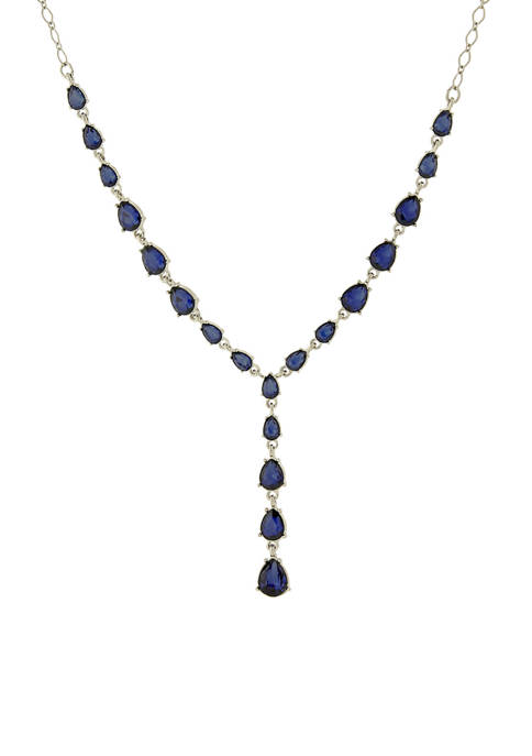 1928 Jewelry Silver Tone Blue Y Necklace